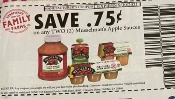 10 Coupons $.75/2 Musselman's Apple Sauces Exp.9/30/21