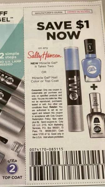 10 Coupons $1/1 Sally Hansen Miracle Gel It Takes Two or Miracle Gel Nail Color or Top Coat Exp.9/30/21