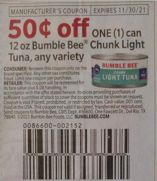 10 Coupons $.50/1 Bumble Bee Chunk Light Tuna Can Exp.11/30/21