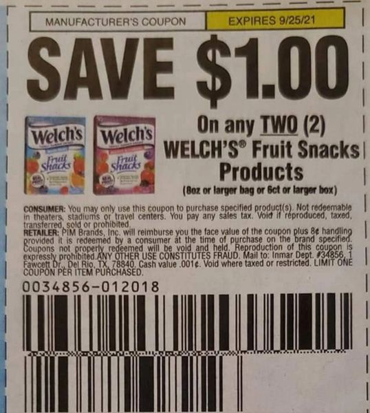 10 Coupons $1/2 Welch's Fruit Snacks Products (8oz+ Bag or 6ct+ BOx) Exp.9/25/21