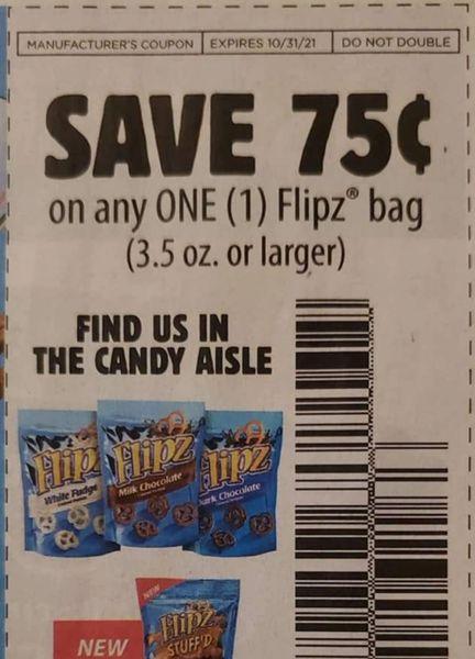 10 Coupons $.75/1 Flipz Bag (3.5oz+) Exp.10/31/21