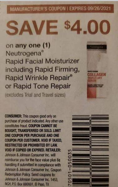 10 Coupons $4/1 Neutrogena Rapid Facial Moisturizer Including Rapid Firming, Rapid Wrinkle Repair or Rapid Tone Repair Exp.9/26/21