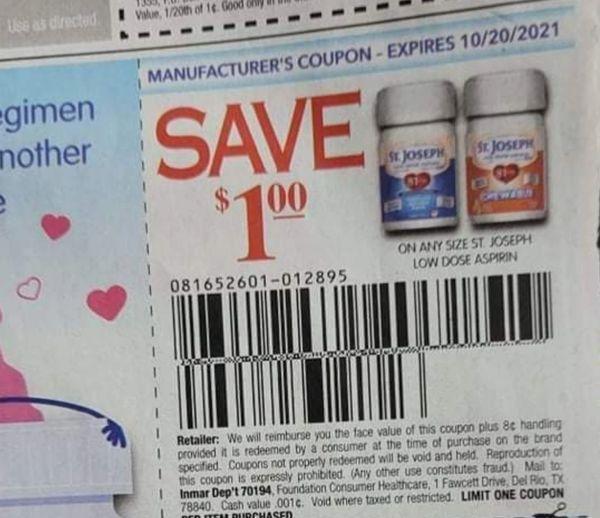 10 Coupons $1/1 St. Joseph Low Dose Aspirin Exp.10/20/21