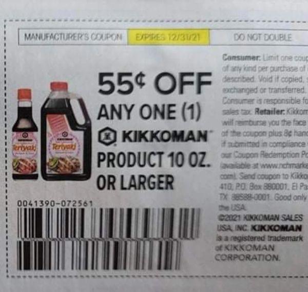 10 Coupons $.55/1 Kikkoman Product 10oz+ Exp.12/31/21
