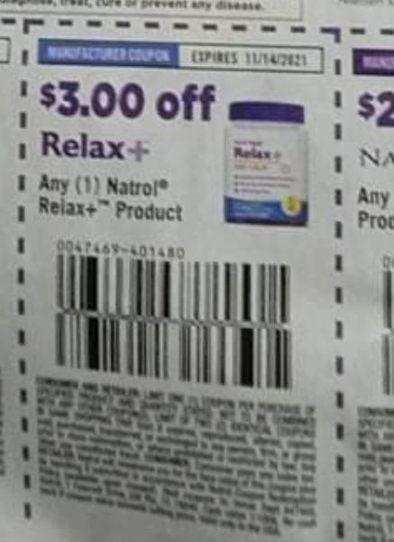 10 Coupons $3/1 Natrol Relax+ Product Exp.11/14/21