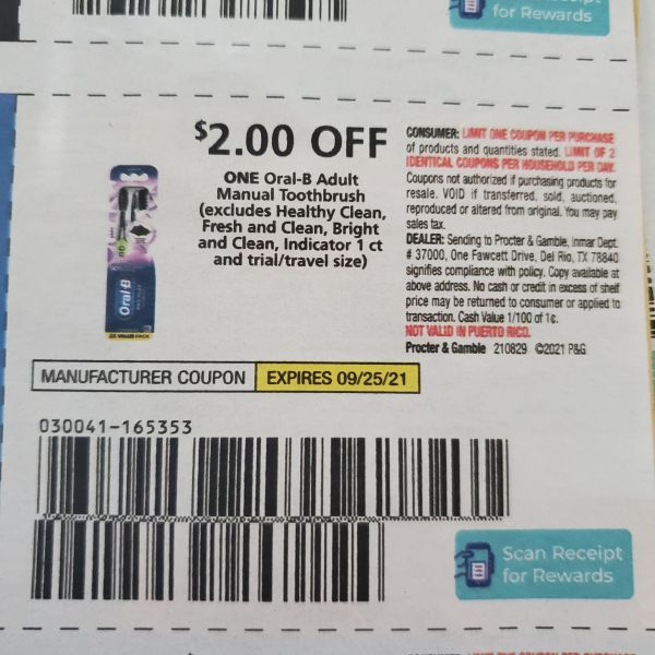 10 Coupons $2/1 Oral-B Adult Manual Toothbrush (Excludes Healthy Clean, Fresh & Clean, Bright and Clean, Indicator 1ct) Exp.9/25/21