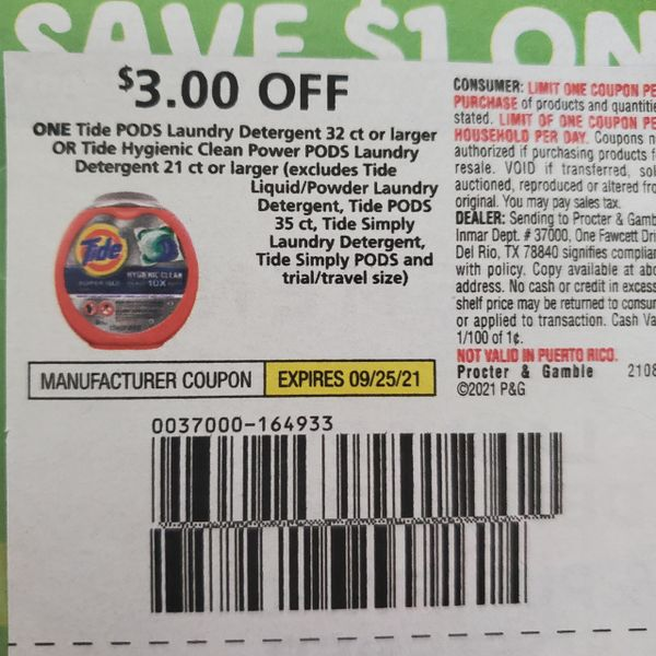 10 Coupons $3/1 Tide Pods Laundry Detergent 32ct+ Or Tide Hygienic Clean Power Pods Laundry Detergent 21ct+ Exp.9/25/21