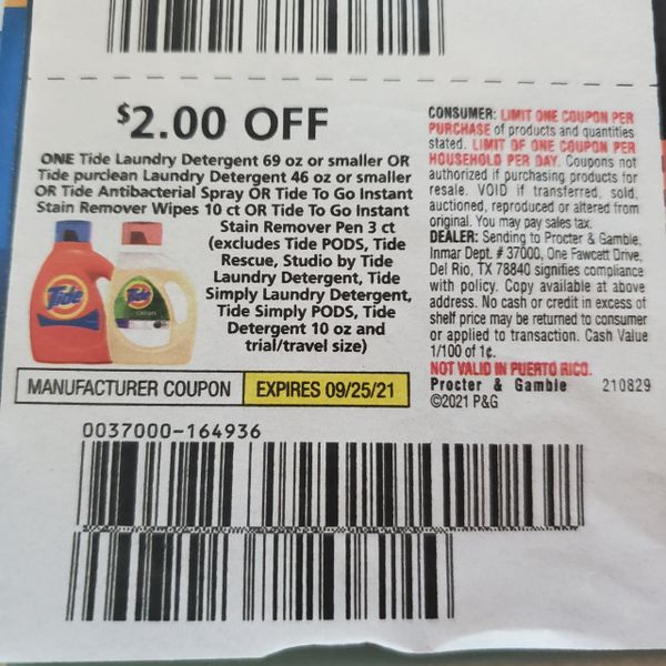 10 Coupons $2/1 Tide Laundry Detergent 69oz or Smaller Or Tide PurClean Laundry Detergent 46oz or Smaller Or Tide Antibacterial Spray or Tide To Go Instant Stain Remover Wipes 10ct Or Tide To Go Instant Stain Remover Pen 3ct Exp.9/25/21