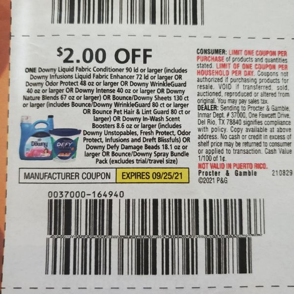 10 Coupons $2/1 Downy Liquid Fabric Conditioner 90ld+ (SEE PIC) Exp.9/25/21