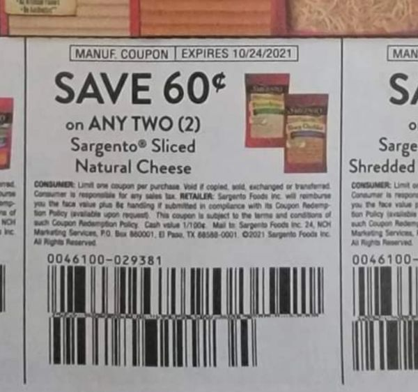 10 Coupons $.60/2 Sargento Sliced Natural Cheese Exp.10/24/21