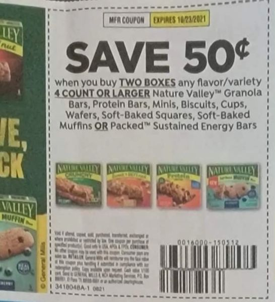 10 Coupons $.50/2 Nature Valley Granola Bars, Protein Bars, Minis, Biscuits, Cups, Wafers, Soft Baked Squares Soft Baked Muffins or Packed Sustained Energy Bars Exp.10/23/21