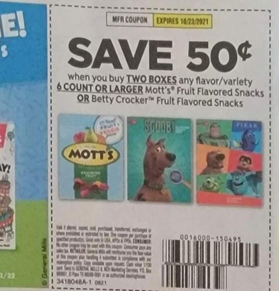 10 Coupons $.50/2 Mott's Fruit Flavored Snacks or Betty Crocker Fruit Flavored Snacks Exp.10/23/21