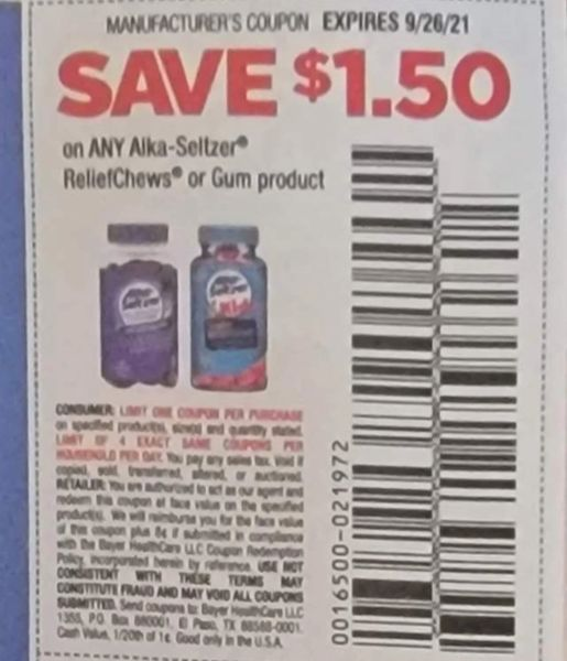 10 Coupons $1.50/1 Alka-Seltzer ReliefChews or Gum Product Exp.9/26/21
