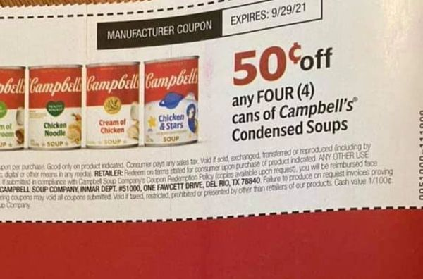 10 Coupons $.50/4 Campbell's Condensed Soups Exp.9/29/21