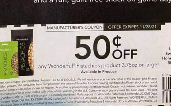 10 Coupons $.50/1 Wonderful Pistachios Product 3.75oz+ Exp.11/28/21