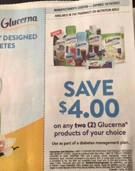 10 Coupons $4/2 Glucerna Products Exp.10/10/21