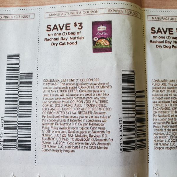 10 Coupons $3/1 Rachael Ray Nutrish Dry Cat Food Exp.10/31/21