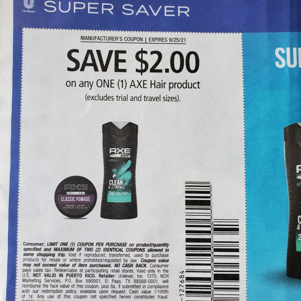 10 Coupons $2/1 Axe Hair Product Exp.9/25/21