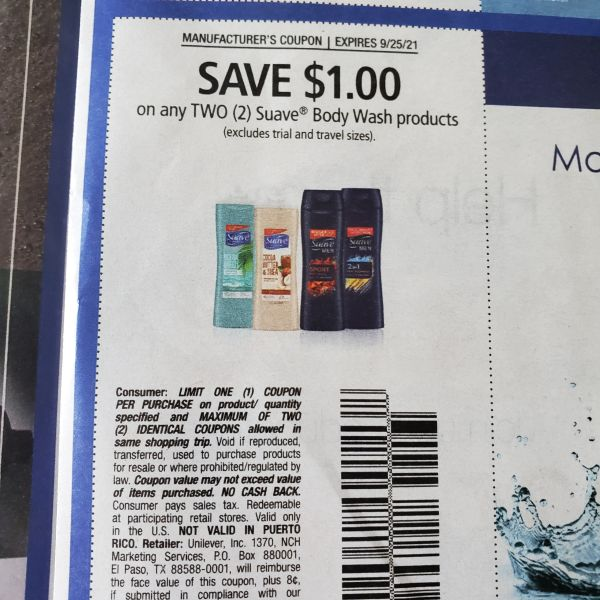 10 Coupons $1/2 Suave Body Wash Products Exp.9/25/21