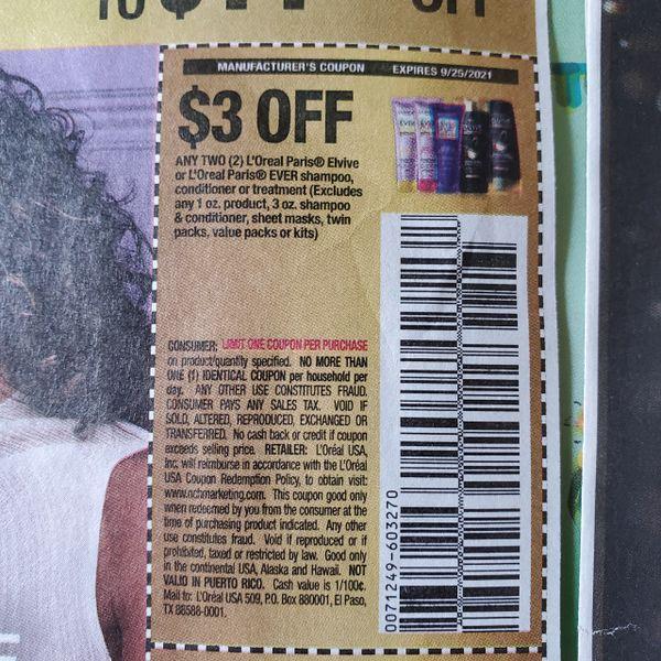 10 Coupons $3/2 L'Oreal Paris Elvive or L'Oreal Paris Ever Shampoo, Conditioner or Treatment Exp.9/25/21