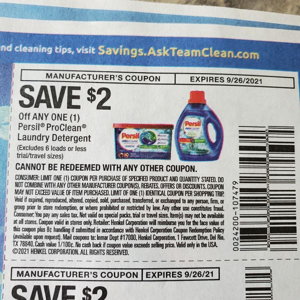 10 Coupons $2/1 Persil ProClean Laundry Detergent Exp.9/26/21