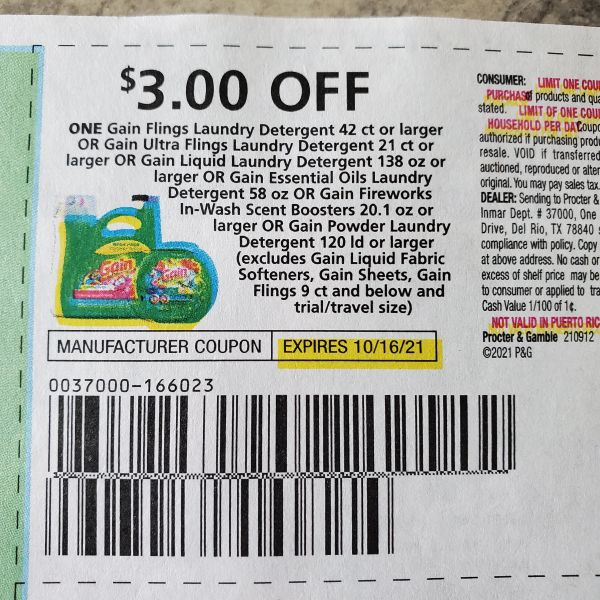 10 Coupons $3/1 Gain Laundry Detergent 42ct+ or Gain Ultra Flings 21ct+ Or Gain Liquid Laundry Detergent 138oz+ Or Gain Essential Oils Laundry Detergent 58oz Or Gain Fireworks In-Wash Scent Boosters Exp.10/16/21