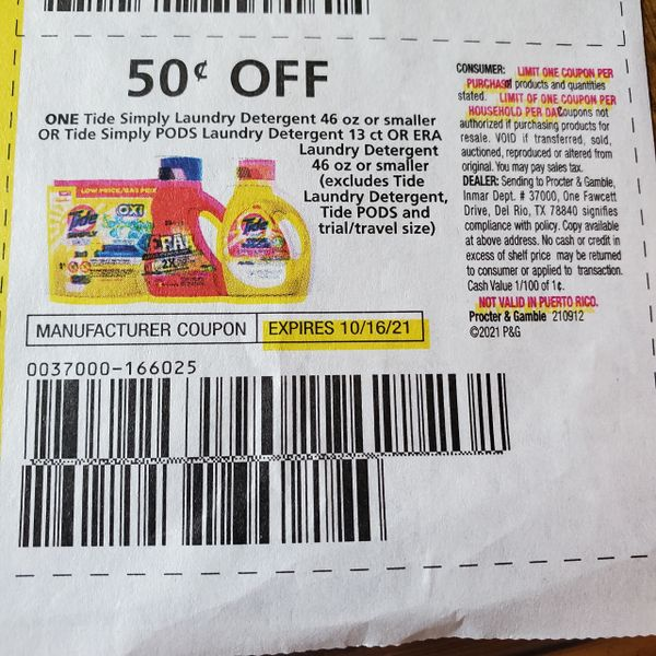 10 Coupons $.50/1 Tide simply Laundry Detergent 46oz or Smaller or Tide Simply Pods Laundry Detergent 13ct or Era Laundry Detergent 46oz or Smaller Exp.10/16/21