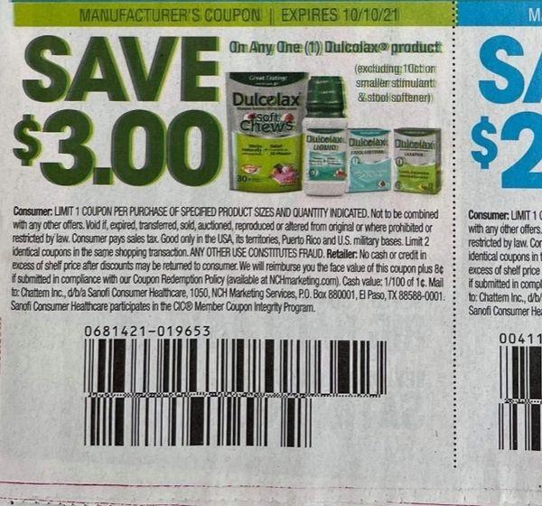 10 Coupons $3/1 Dulcolax Product Exp.10/10/21