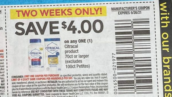 10 Coupons $4/1 Citracal Product 70ct+ Exp.9/26/21