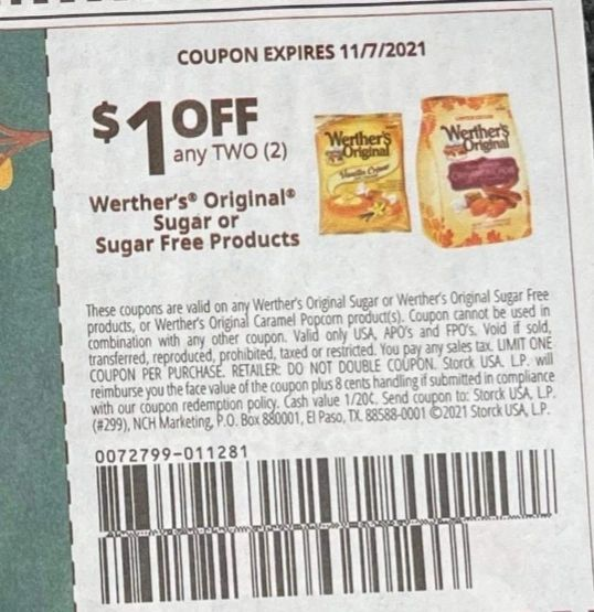 10 Coupons $1/1 Werther's Original Sugar or Sugar Free Products Exp.11/7/21