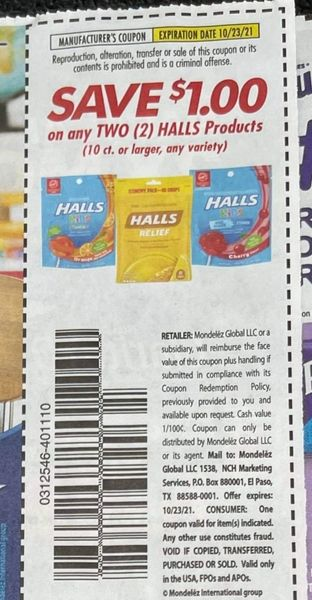 10 Coupons $1/2 Halls Products (10ct+) Exp.10/23/21