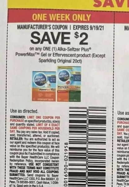 10 Coupons $2/1 Alka-Seltzer Plus PowerMax Gel or Effervescent Product Exp.919/21