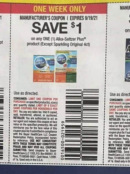 10 Coupons $1/1 Alka-Seltzer Plus Product Exp.9/19/21