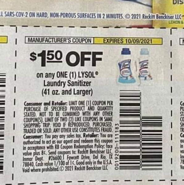10 Coupons $1.50/1 Lysol Laundry Sanitizer (41oz+) Exp.10/9/21