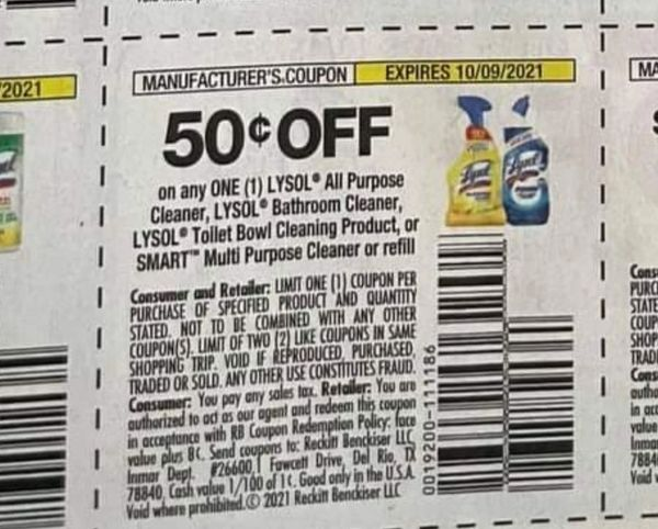 10 Coupons $.50/1 Lysol All Purpose Cleaner, Lysol Bathroom Cleaner, Lysol Toilet Bowl Cleaning Product, Smart Multi Purpose Cleaner Starter Kit or Refill Exp.10/9/21