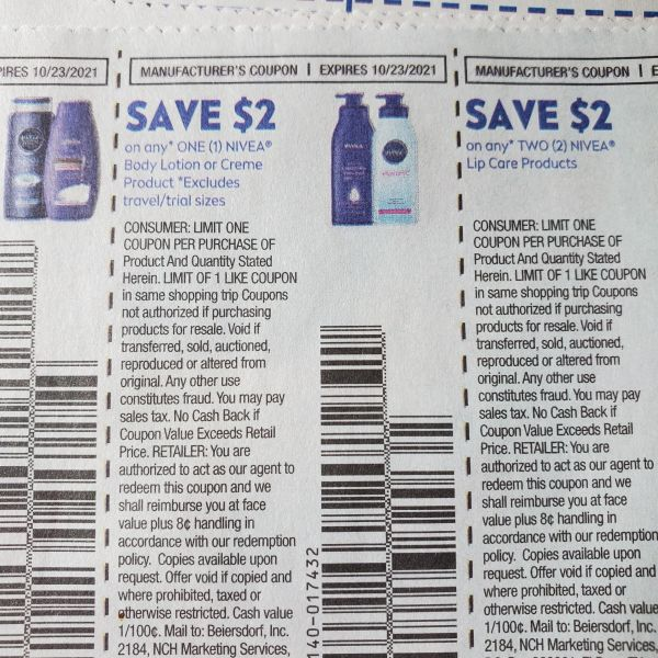10 Coupons $2/1 Nivea Body Lotion, or Creme Product Exp.10/23/21