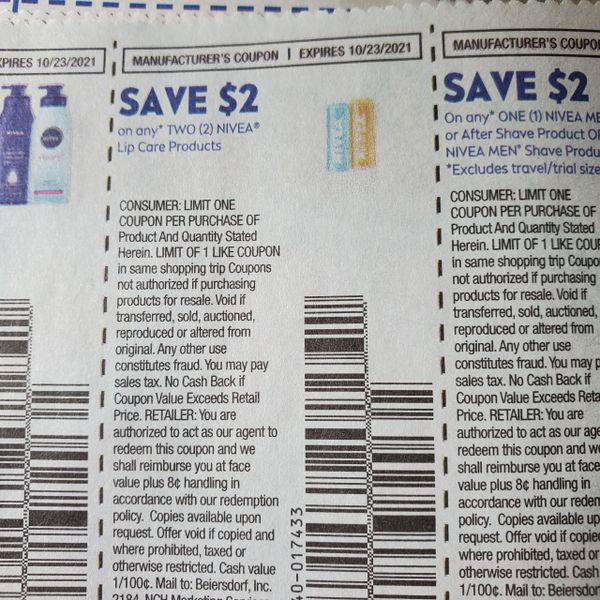 10 Coupons $2/2 Nivea Lip Care Products Exp.10/23/21