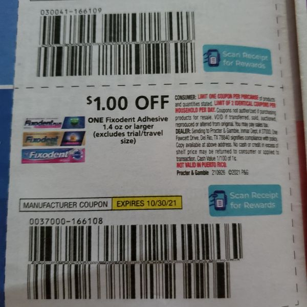 10 Coupons $1/1 Fixodent Adhesive 1.4oz+ Exp.10/30/21