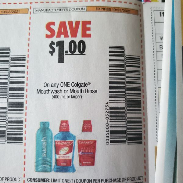 10 Coupons $1/1 Colgate Mouthwash or Mouth Rinse *400mL+) Exp.10/23/21