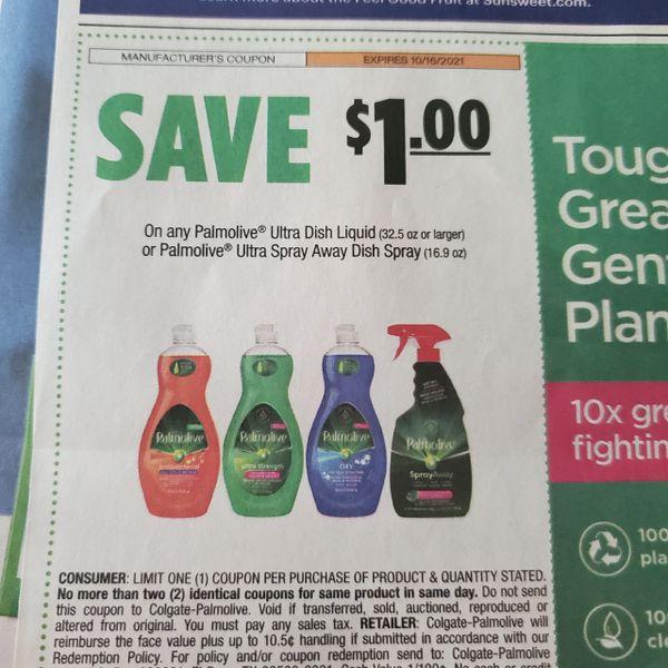 10 Coupons $1/1 Palmolive Ultra Dish Liquid (32.5oz+) or Palmolive Ultra Spray Away Dush Spray Exp.10/16/21