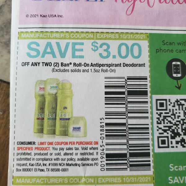 10 Coupons $3/2 Ban Roll-On Antiperspirant Deodorant Exp.10/31/21
