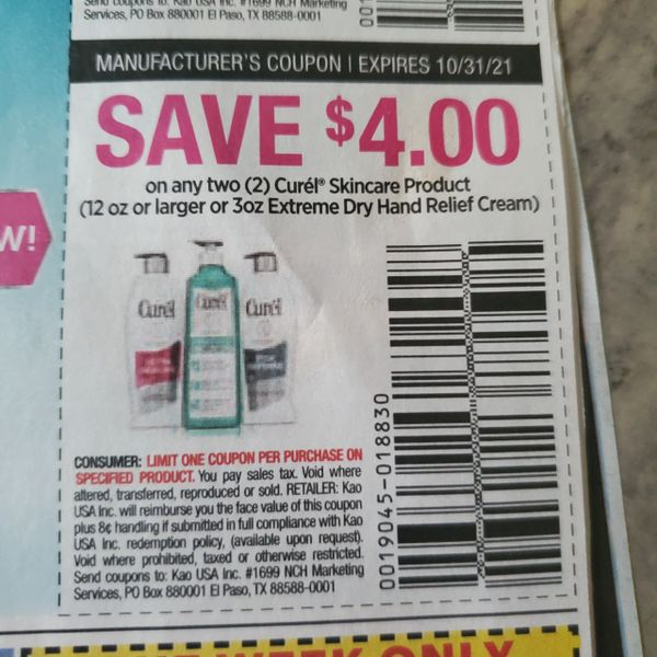 10 Coupons $4/2 Curel Skincare Product (12oz or 3oz Extreme Dry Hand Relief Cream) Exp.10/31/21