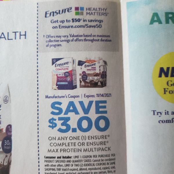10 Coupons $3/1 Ensure Complete Multipack or Ensure Max Protein Multipack Exp.11/14/21