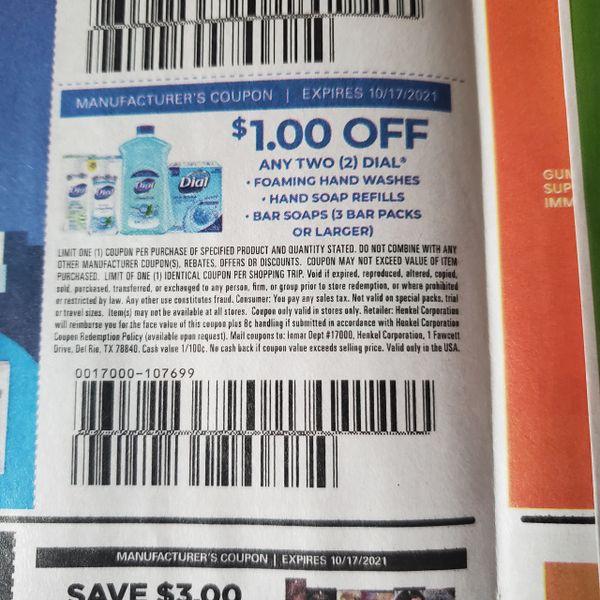 10 Coupons $1/2 Dial Foaming Hand Wash, Hand Soap Refills, Bar Soaps (3 Bar Packs+) Exp.10/17/21