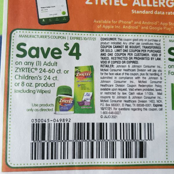 10 Coupons $4/1 Adult Zyrtec 24-60ct or Children's 24ct or 8oz Exp.10/17/21