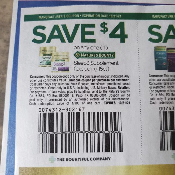 10 Coupons $4/1 Nature's Bounty Sleep3 Supplement (Excluding 15ct) Exp.10/31/21