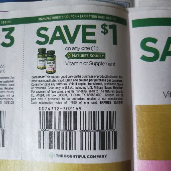 10 Coupons $1/1 Nature's Bounty Vitamin or Supplement Exp.10/31/21