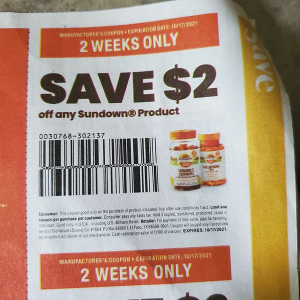 10 Coupons $2/1 Sundown Product Exp.10/17/21