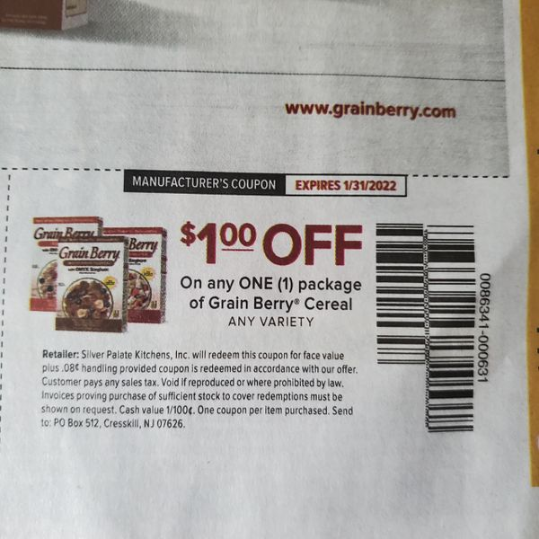 10 Coupons $1/1 Grain Berry Cereal Exp.1/31/22