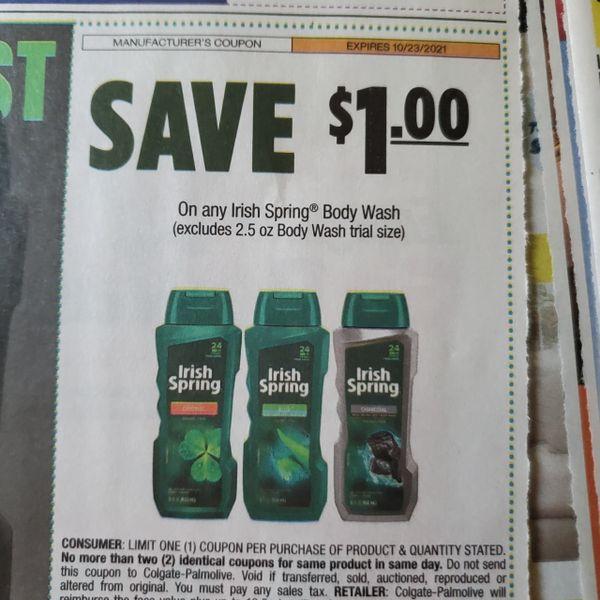 10 Coupons $1/1 Irish Spring Body Wash Product Exp.10/23/21